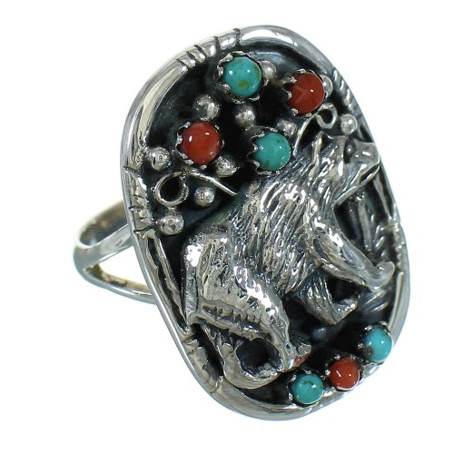 Genuine Sterling Silver Bear Turquoise Coral Ring Size 6 RX84878