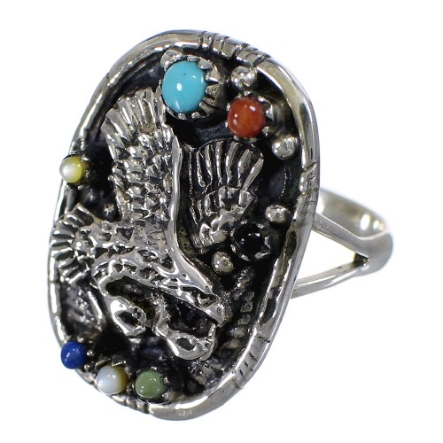 Multicolor Southwestern Sterling Silver Eagle Ring Size 6-1/2 UX84018