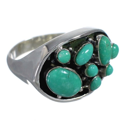 Turquoise And Genuine Sterling Silver Southwestern Ring Size 8 YX84502