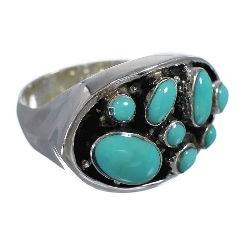 Turquoise And Authentic Sterling Silver Southwestern Ring Size 7-1/2 YX84506