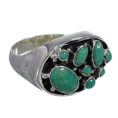Southwest Turquoise And Genuine Sterling Silver Ring Size 7 YX84536