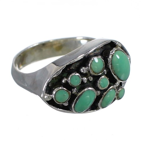 Southwestern Silver And Turquoise Ring Size 5-1/2 YX84562