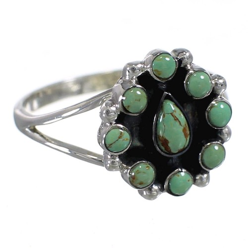 Southwest Authentic Sterling Silver And Turquoise Ring Size 8-1/2 YX85297