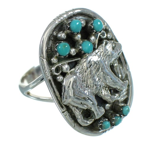 Turquoise Authentic Sterling Silver Bear Ring Size 6-3/4 RX85716