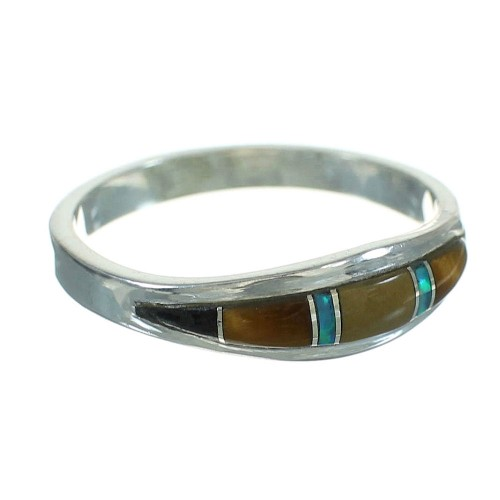 Authentic Sterling Silver Southwestern Multicolor Ring Size 6-1/2 QX85575