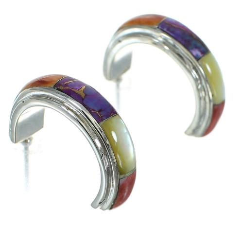 Authentic Sterling Silver Multicolor Post Hoop Earrings RX83831