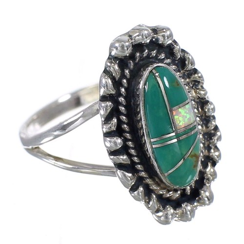 Turquoise Opal Southwest Authentic Sterling Silver Ring Size 7-1/2 QX85891