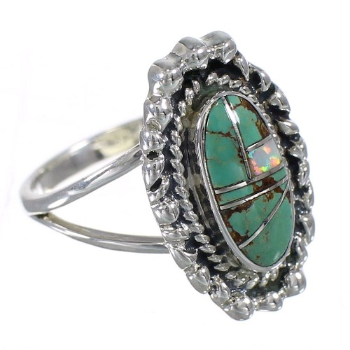 Southwest Turquoise Opal Sterling Silver Ring Size 8-1/2 QX85913