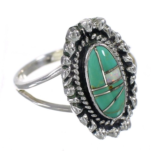 Southwest Turquoise Opal Genuine Sterling Silver Ring Size 7 QX85919