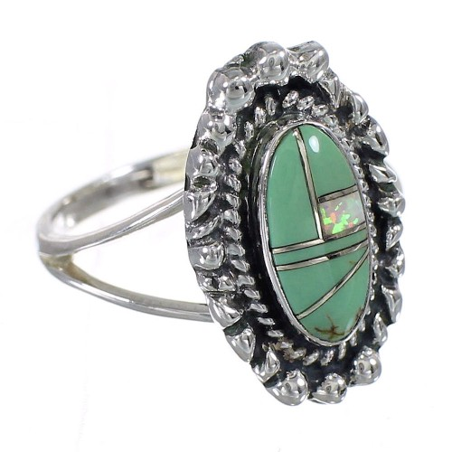 Sterling Silver Southwest Turquoise Opal Inlay Ring Size 6-3/4 QX85925
