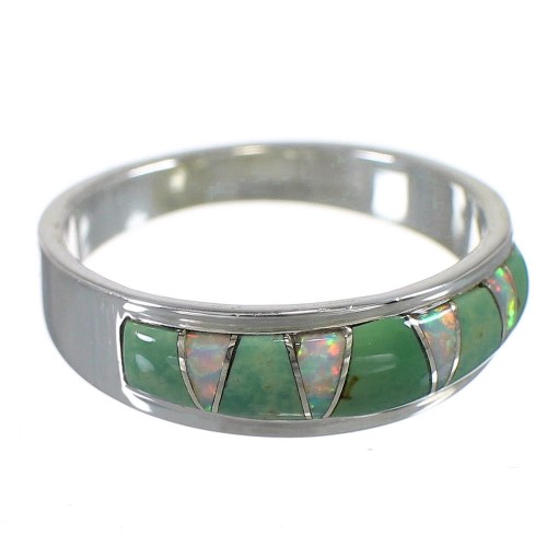 Turquoise Opal Inlay Silver Southwest Ring Size 4-1/2 QX85960