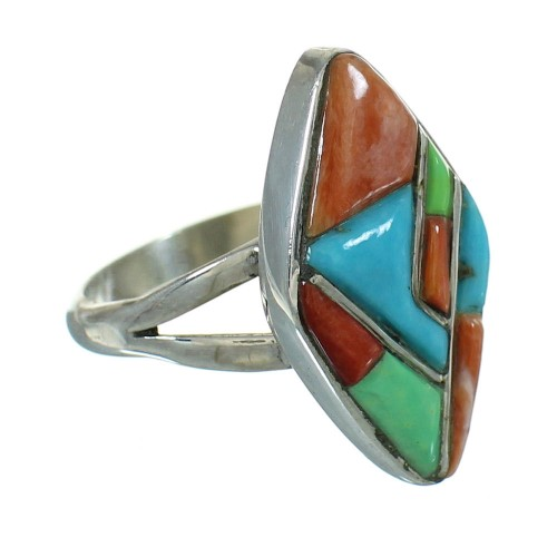 Silver Multicolor Whiterock Ring Size 6-3/4 YX84056