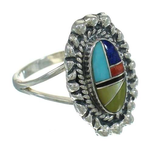 Multicolor And Genuine Sterling Silver Southwestern Ring Size 7-1/4 YX84239