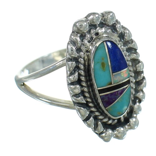 Multicolor Inlay Southwest Sterling Silver Ring Size 8-1/4 YX84390