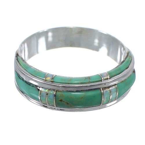 Opal And Turquoise Inlay Silver Southwestern Ring Size 6-1/2 AX86923