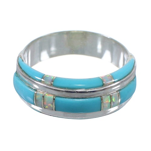 Southwest Opal And Turquoise Silver Ring Size 5-1/2 AX86958