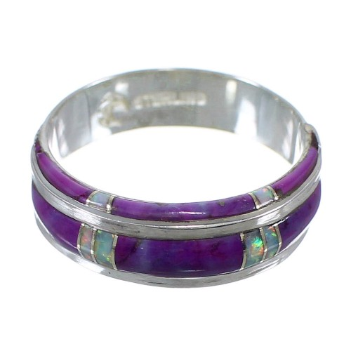 Opal And Magenta Turquoise Sterling Silver Ring Size 8-1/2 AX87151