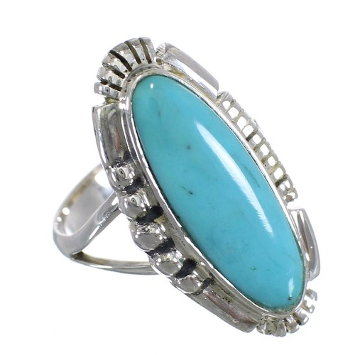 Southwestern Turquoise Sterling Silver Ring Size 5-3/4 QX86876