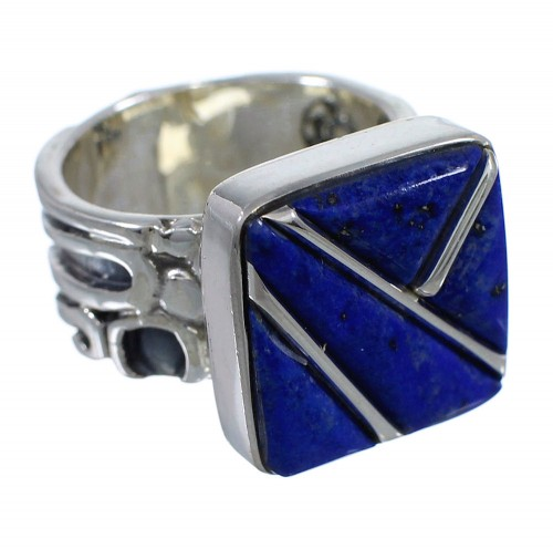 Genuine Sterling Silver Southwestern Lapis Inlay Ring Size 8-1/2 AX92396