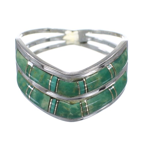 Southwest Turquoise Silver Ring Size 8-1/4 YX92559