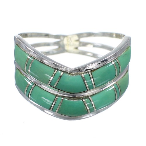Southwest Turquoise And Silver Ring Size 5-3/4 YX92581