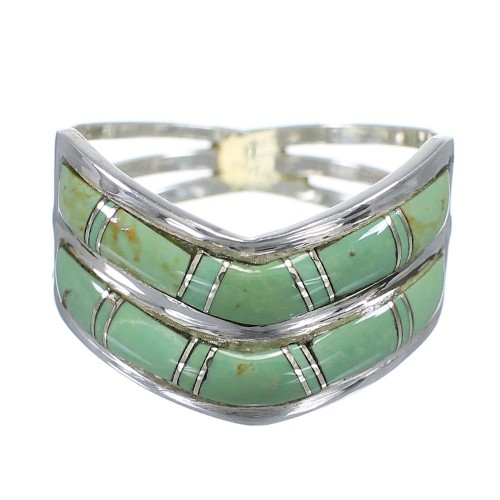 Southwestern Authentic Sterling Silver And Turquoise Ring Size 6-1/2 YX92656