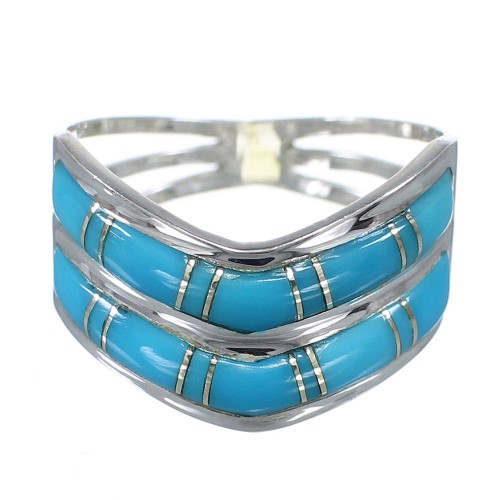 Southwestern Turquoise And Genuine Sterling Silver Ring Size 5-1/4 YX93043