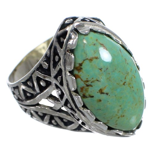 Authentic Sterling Silver And Turquoise Southwestern Ring Size 7-1/2 RX92956