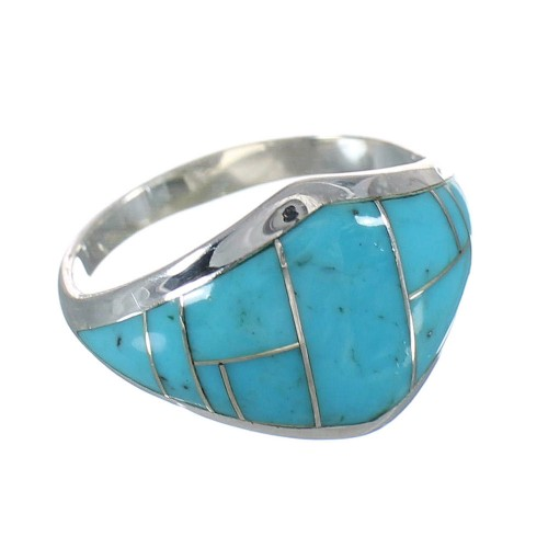 Authentic Sterling Silver Southwestern Turquoise Inlay Ring Size 5-3/4 AX90572