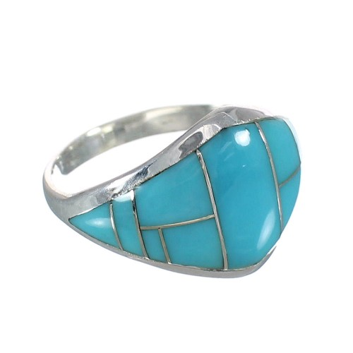 Southwest Genuine Sterling Silver Turquoise Inlay Ring Size 4-1/2 AX90591
