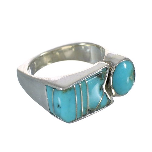 Turquoise Inlay Jewelry Authentic Sterling Silver Ring Size 5 AX90612