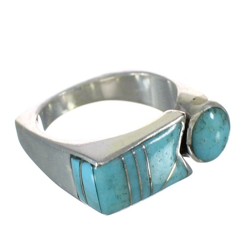 Silver Southwest Turquoise Inlay Jewelry Ring Size 8 AX90619