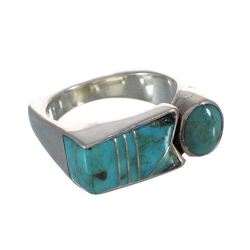Authentic Sterling Silver Southwestern Jewelry Turquoise Inlay Ring Size 7 AX90625