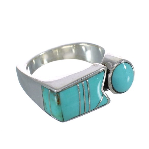 Silver Turquoise Inlay Ring Size 5-1/2 AX90641