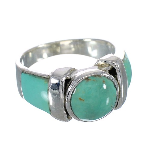 Turquoise Inlay Silver Southwest Ring Size 8-1/4 AX90944