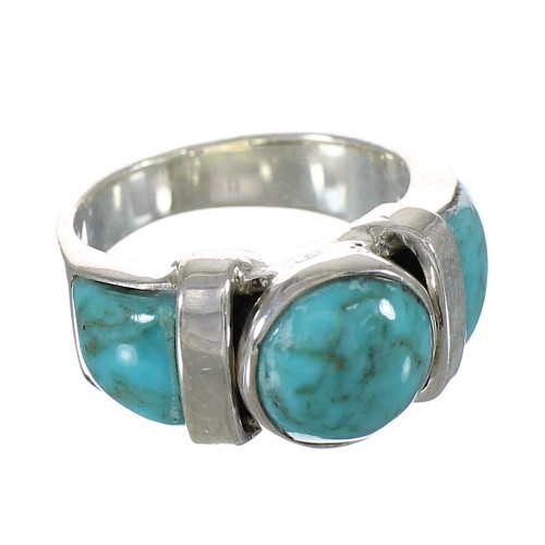 Sterling Silver Jewelry Turquoise Ring Size 7-1/2 AX90999