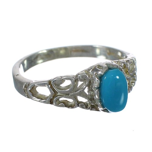 Southwest Sterling Silver And Turquoise Ring Size 7-3/4 YX90478