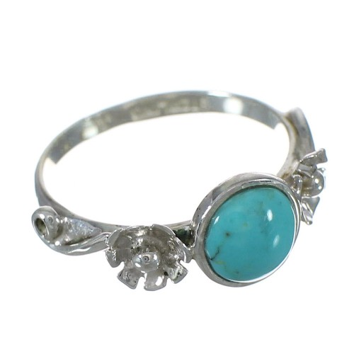 Genuine Sterling Silver Turquoise Flower Jewelry Ring Size 7-1/2 FX91385