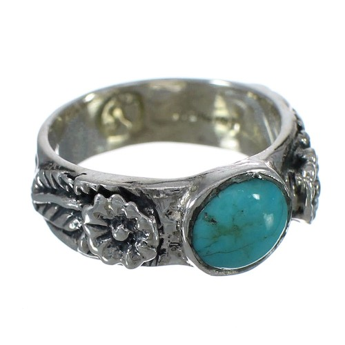 Flower Turquoise Genuine Sterling Silver Southwest Ring Size 6-1/2 YX90526