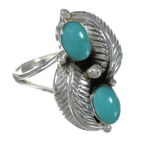 Genuine Sterling Silver Turquoise Ring Size 8 FX91004