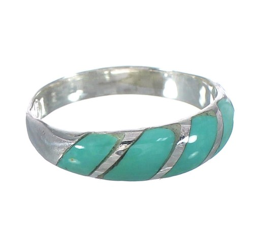 Turquoise Inlay Jewelry Authentic Sterling Silver Ring Size 4-3/4 AX93206