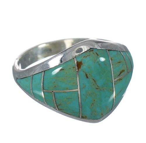 Turquoise Genuine Sterling Silver Southwestern Ring Size 5-1/2 AX92911