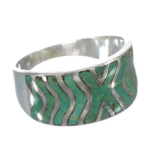 Turquoise Southwest Jewelry Silver Ring Size 8 AX93033