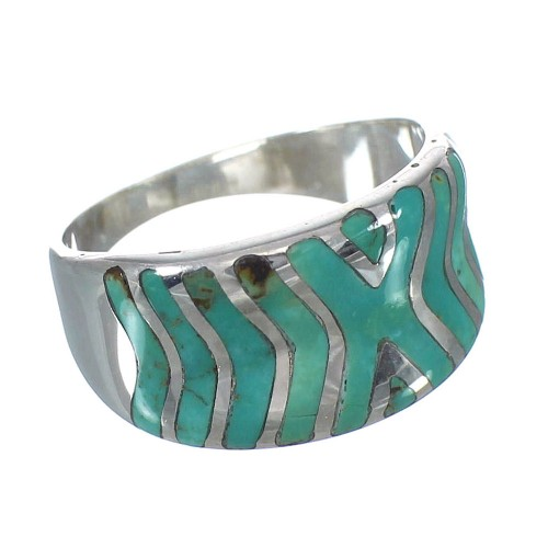 Turquoise Inlay Jewelry Silver Southwestern Ring Size 5-1/4 AX93083