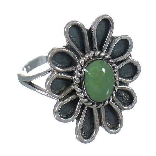 Southwest Sterling Silver Turquoise Flower Ring Size 4-3/4 FX91442