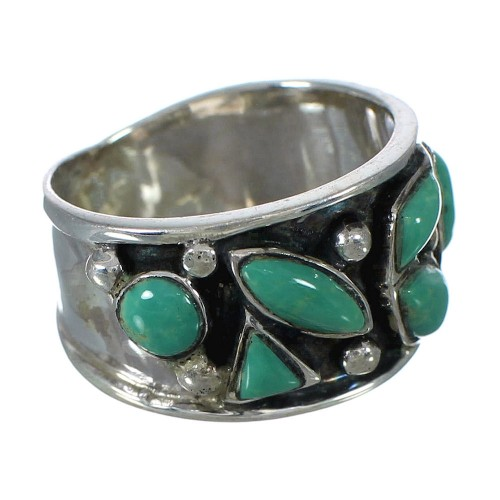 Southwestern Turquoise And Silver Ring Size 8-1/4 YX90763