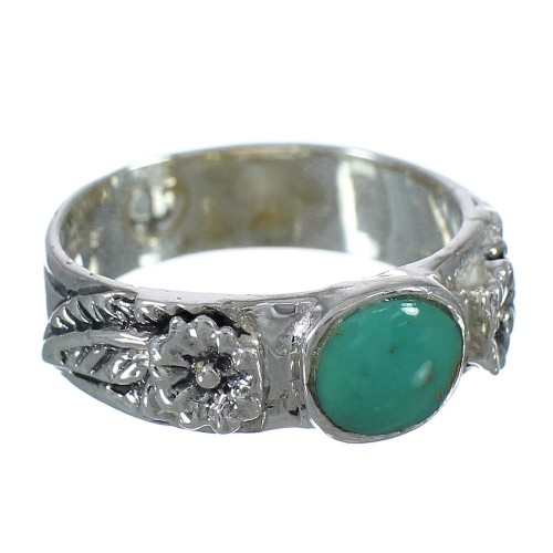 Genuine Sterling Silver And Turquoise Flower Ring Size 7-3/4 YX91610