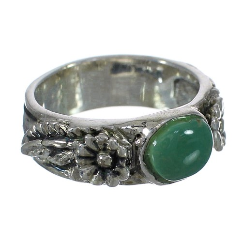 Southwest Turquoise Silver Flower Ring Size 5-3/4 YX91632