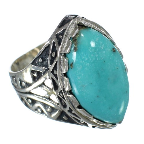 Southwest Turquoise Sterling Silver Jewelry Ring Size 6-3/4 FX93399
