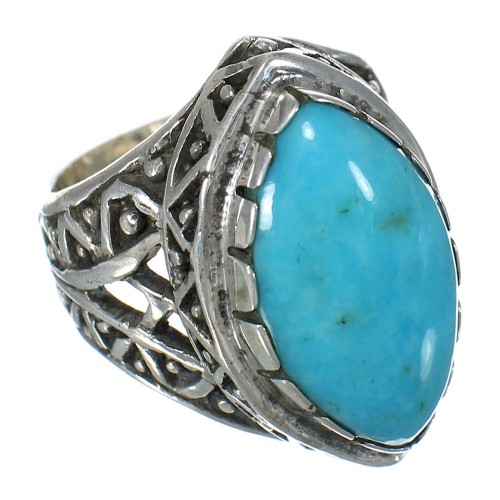 Authentic Sterling Silver Turquoise Jewelry Ring Size 8 FX93426